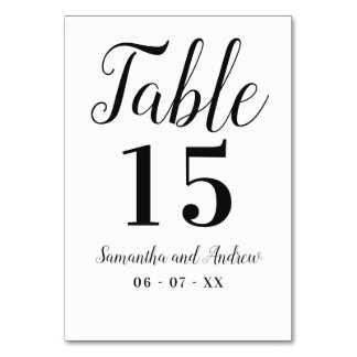 Black white simple typography wedding table card