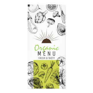 Black white sketch art organic vegan menu template rack card design