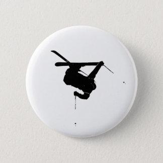 Black & White Skier 2 Inch Round Button