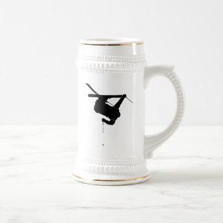 Black & White Skier Beer Stein