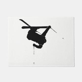 Black & White Skier Doormat