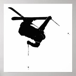 Black & White Skier Poster