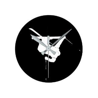 Black & White Skier Round Clock
