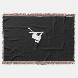 Black & White Skier Throw Blanket