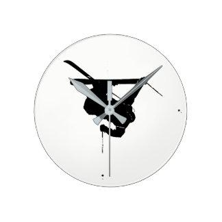 Black & White Skier Wallclocks