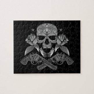 Black & White Skull and Guns Jigsaw Puzzle