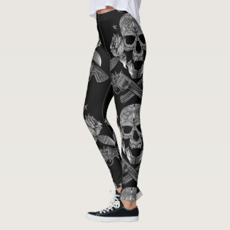 Black & White Skull and Guns Leggings