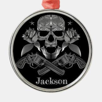 Black & White Skull and Guns Metal Ornament