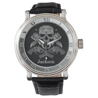 Black & White Skull and Guns Watch
