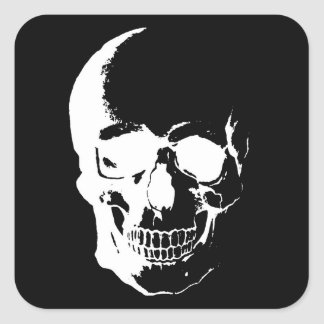 Black & White Skull Square Sticker