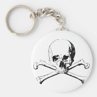 Black & White Skull & the Bones Basic Round Button Keychain