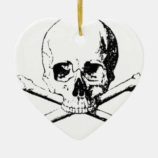 Black & White Skull & the Bones Ceramic Heart Ornament