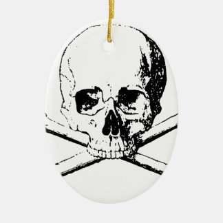 Black & White Skull & the Bones Ceramic Oval Ornament