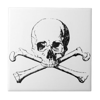 Black & White Skull & the Bones Ceramic Tile