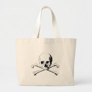 Black & White Skull & the Bones Large Tote Bag