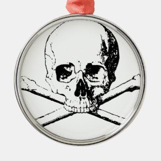 Black & White Skull & the Bones Silver-Colored Round Ornament