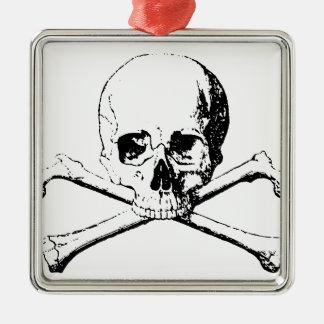 Black & White Skull & the Bones Silver-Colored Square Ornament