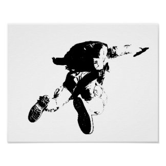 Black & White Skydiving Poster