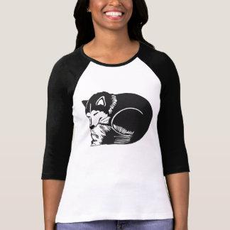 Black White Sleeping Husky Ladies Raglan T-Shirt