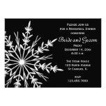 Black & White Snowflake Wedding Rehearsal Dinner Custom Invites
