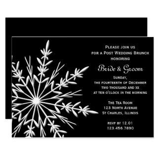 Black White Snowflake Winter Post Wedding Brunch Card