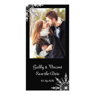 Black White Snowflake Winter Wedding Save the Date Customized Photo Card
