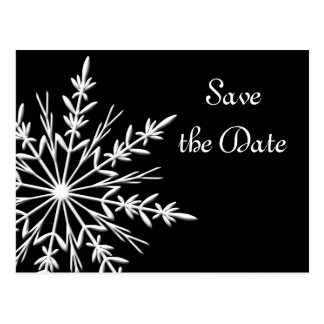 Black White Snowflake Winter Wedding Save the Date Postcard