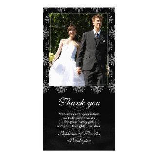 Black + white snowflakes wedding thank you photo photo card template