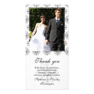 Black + white snowflakes wedding thank you photo custom photo card