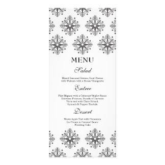 Black + white snowflakes winter wedding food menu personalized rack card
