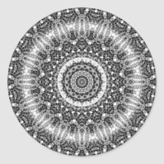 "Black & White ""Snowy Creek"" Mandala Kaleidoscope Classic Round Sticker"