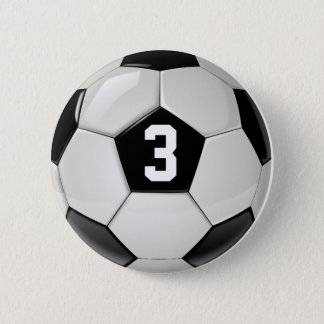 Black & White Soccer Ball Jersey Number Button