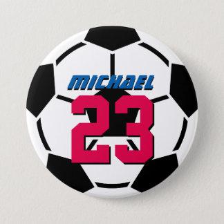 Black White Soccer Ball Sports Team Button Pin