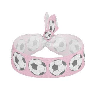 Black / White Soccer Football Balls Carnation Pink Hair Tie