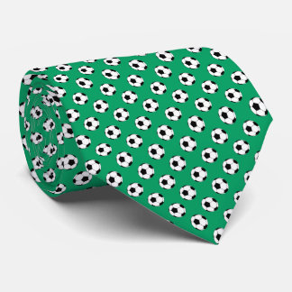 Black White Soccer Fútbol Balls on Shamrock Green Tie