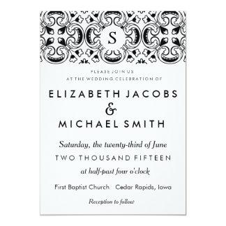 Black & White Spanish Tile Wedding Invitation