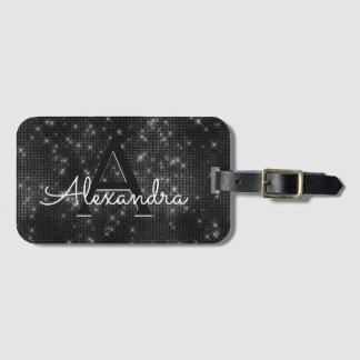 Black & White Sparkle Twinkle Sparkle Monogram Luggage Tag