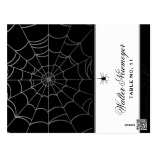 Black White Spider Web ADD NAME Folding Place Card Postcard