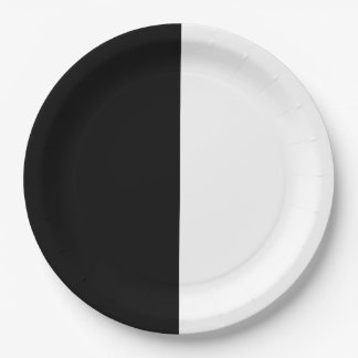 Black & White Split Half Birthday Chic Party Paper Plate