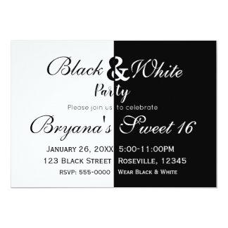 Black & White Split Half Birthday Party Elegant Card