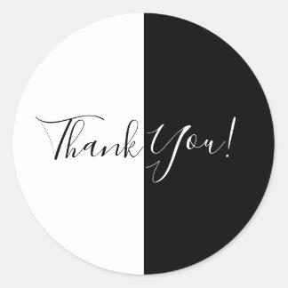Black & White Split Half Birthday Party Elegant Classic Round Sticker