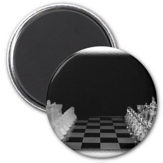 Black & White Spooky Glass Chess Board Game 2 Inch Round Magnet