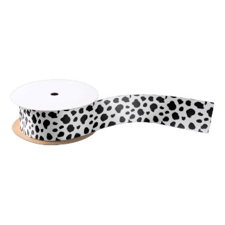 Black & White Spotted Cow Satin Ribbon