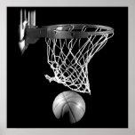 Black & White Square Basketball Ball & Net Poster