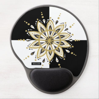 Black & white squares gold & black mandala 2d gel mouse pad