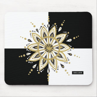 Black & white squares gold & black mandala mouse pad