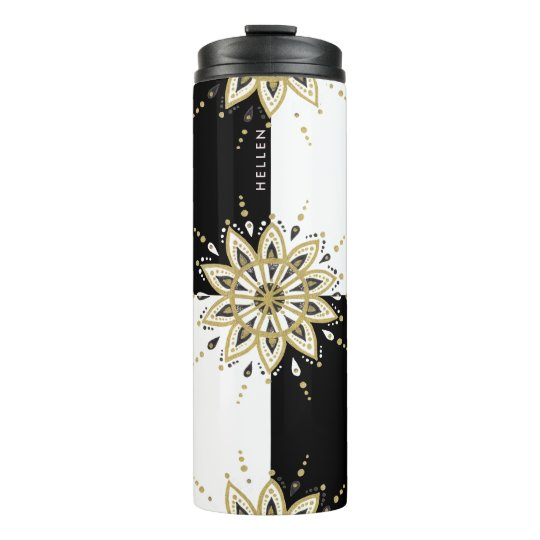 Black & white squares gold & modern gold mandala 7 thermal tumbler