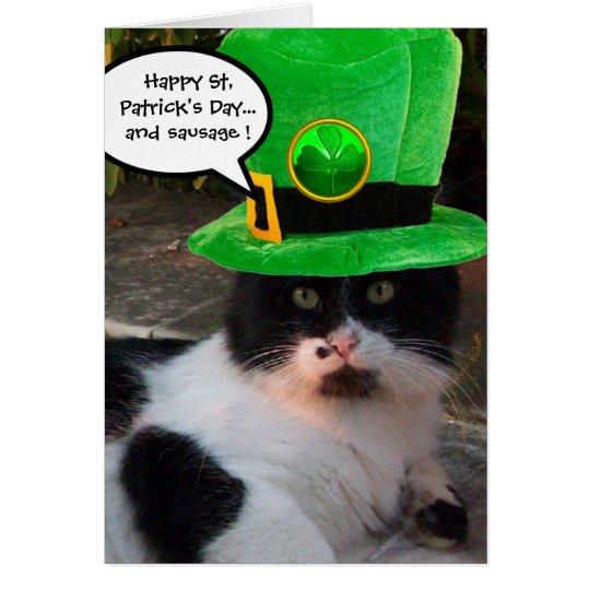 BLACK WHITE ST. PATRICK'S DAY CAT LEPRECHAUN HAT CARD