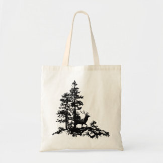Black White Stag Deer Animal Nature Tote Bag