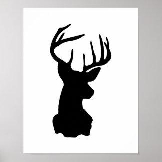 Black & White Stag Head Poster
